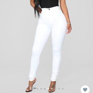Fashion Nova Super High Waist WHITE Denim Pant